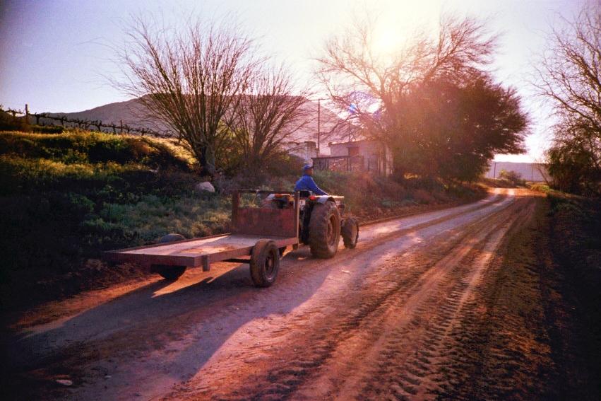 Ein Bauer grüßt freundlich von seinem Traktor in den Cederberg Mountains