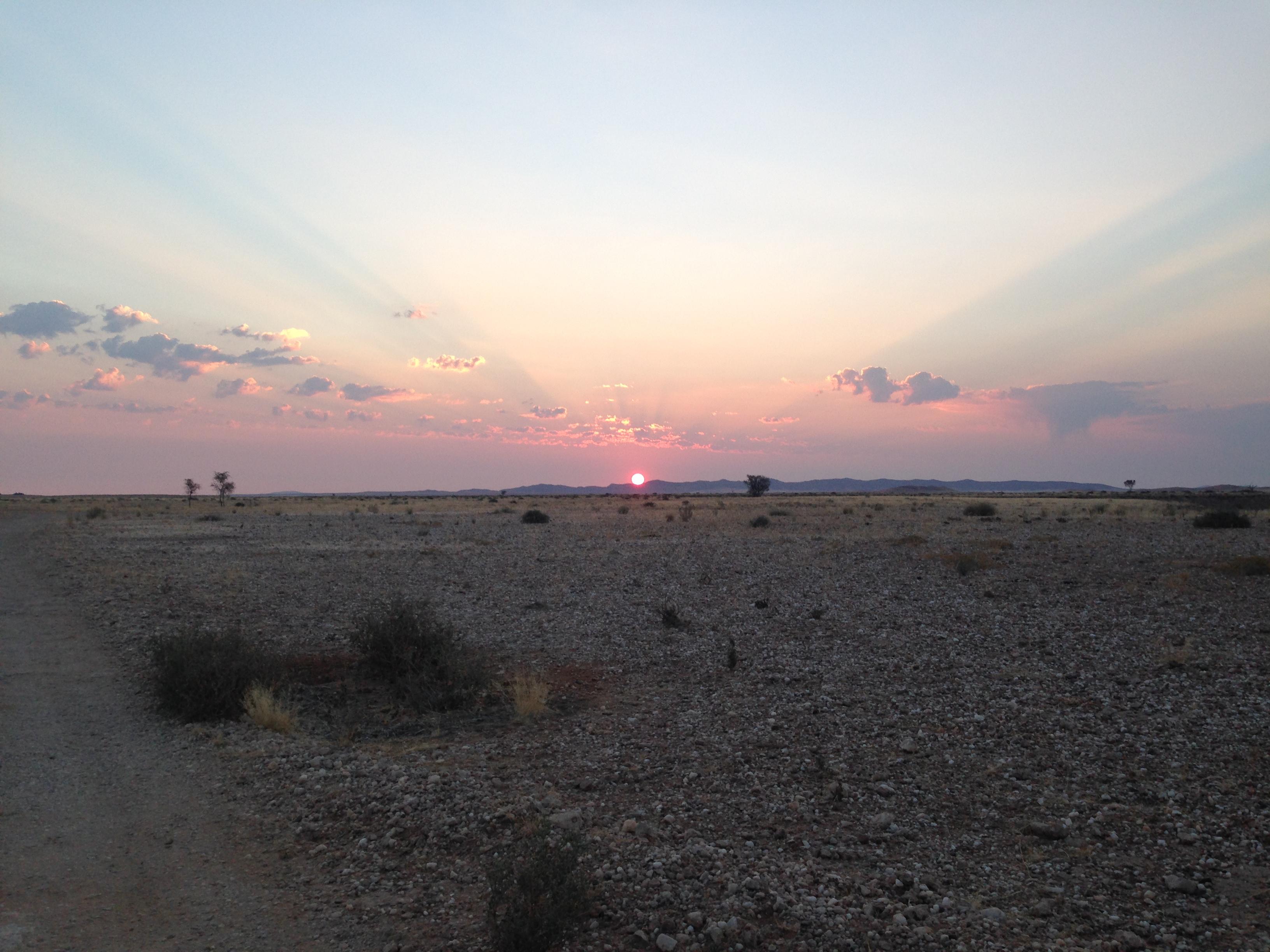 Sonnenuntergang Bushmanscamp Namibia Namib