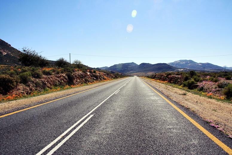 Schnurgerade Straße die das Namaqualand auf ihrem Weg von Südafrika nach Namibia, teilt.