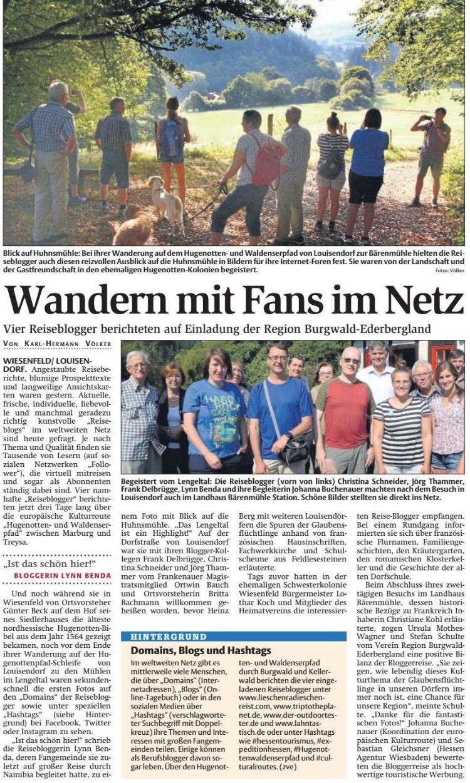 Zeitungsartikel zur Pressereise Wandern auf dem Hugenotten- und Waldenserpfad