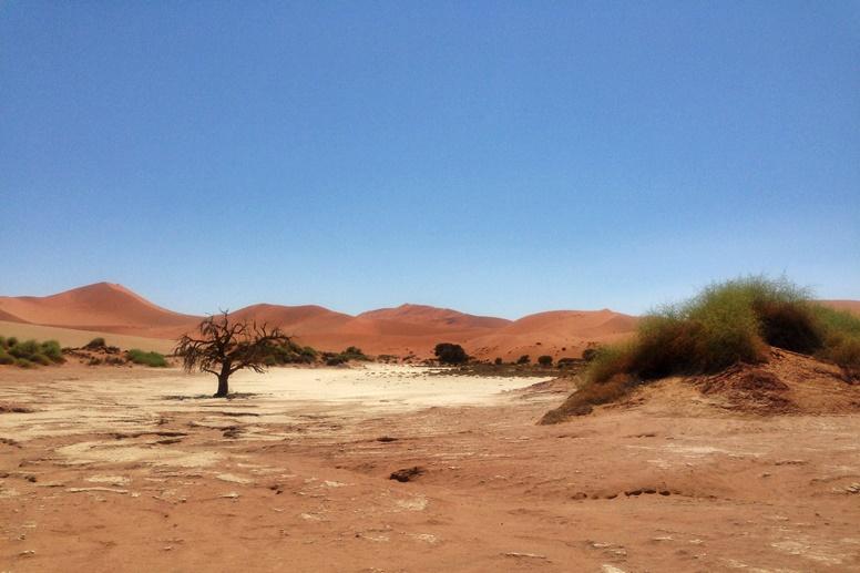 Mittagssonne über der Namib Wüste in Namibia