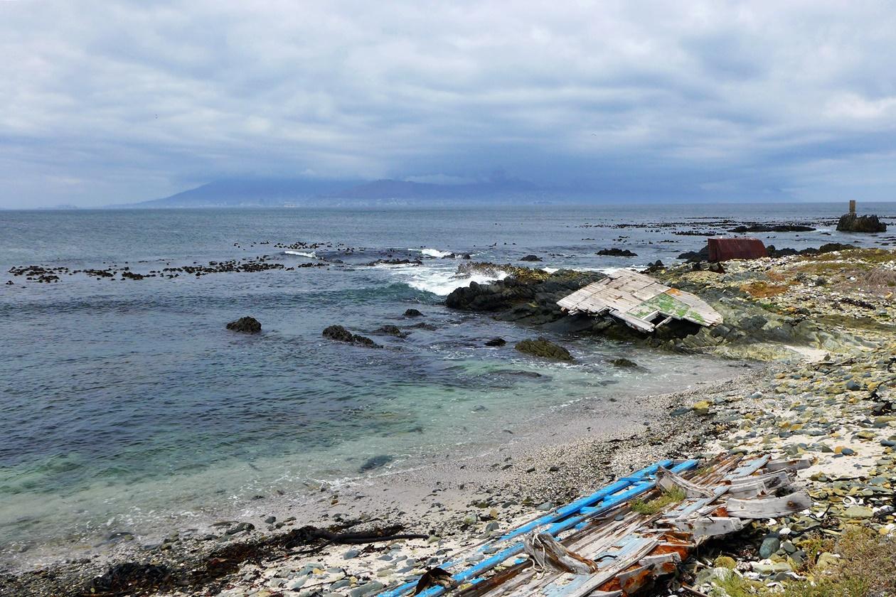 Blick von Robben Island auf Kapstadt
