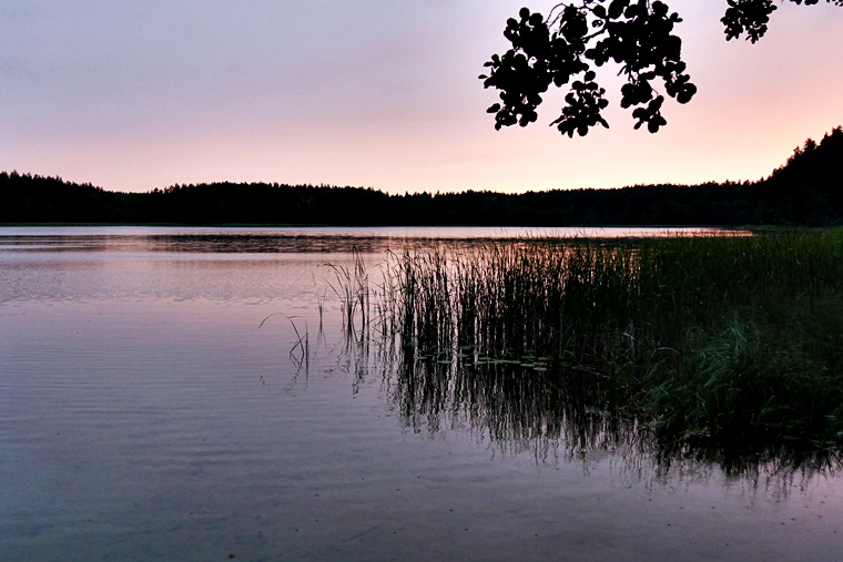 Sonnenuntergang am See in Ignalinia in Litauen