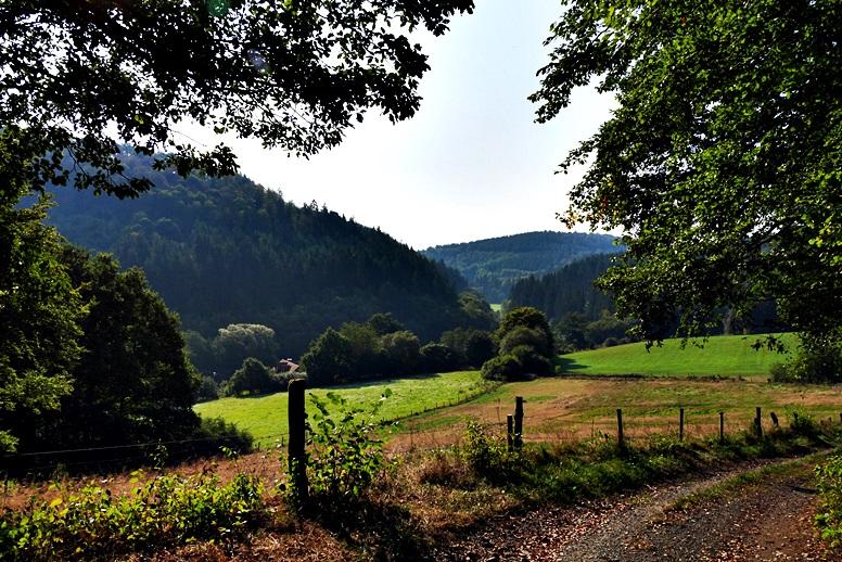 Blick ins Lengeltal auf dem Hugenotten- und Waldenserpfad auf der Wegschleife bei Louisendorf in Nordhessen