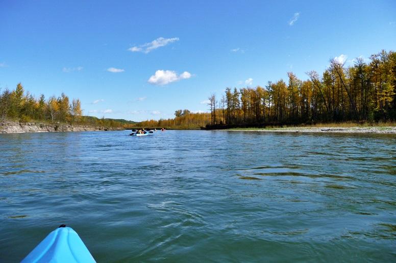 Blick von einem blauen Kajak auf eine Gruppe von Kajaks beim Paddeln auf dem Saskatchewan River