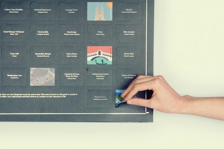 Poster mit verschiedenen, aufklappbaren Türen zu verschiedenen Orten auf dieser Welt als Idee für Weihnachtsgeschenke für Weltenbummler