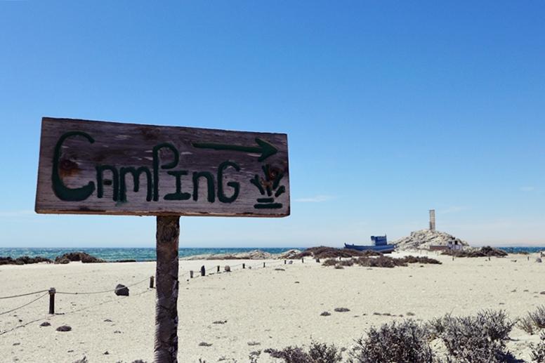 Hinweis auf den Campingplatz in Lüderitz, Namibia