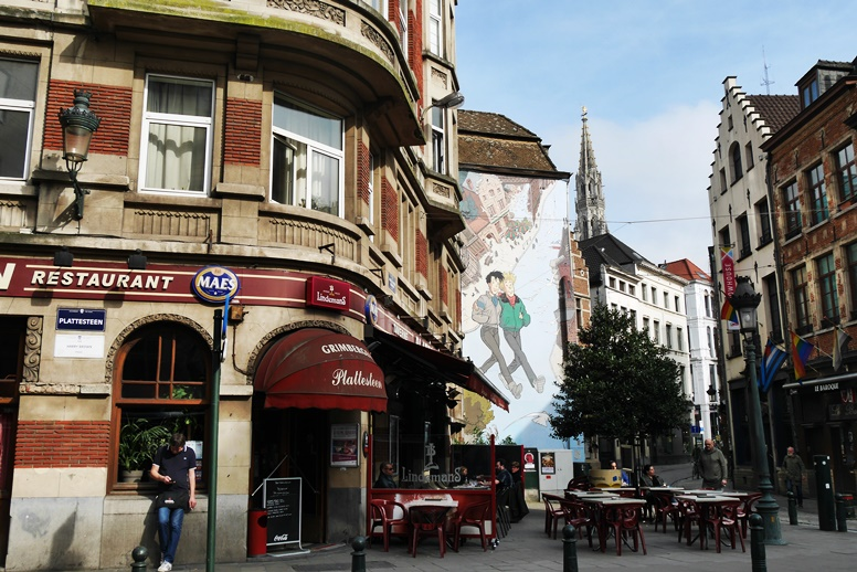 Comic an Häuserwand in Brüssel