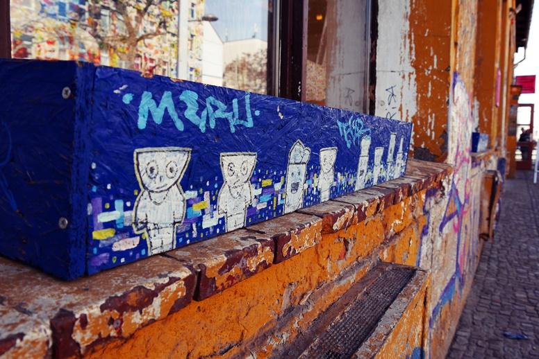 Detailaufnahme von Streetart in der Feinkost Leipzig