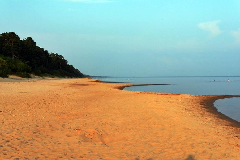 Strand und spiegelglatter Peipus See in Estland
