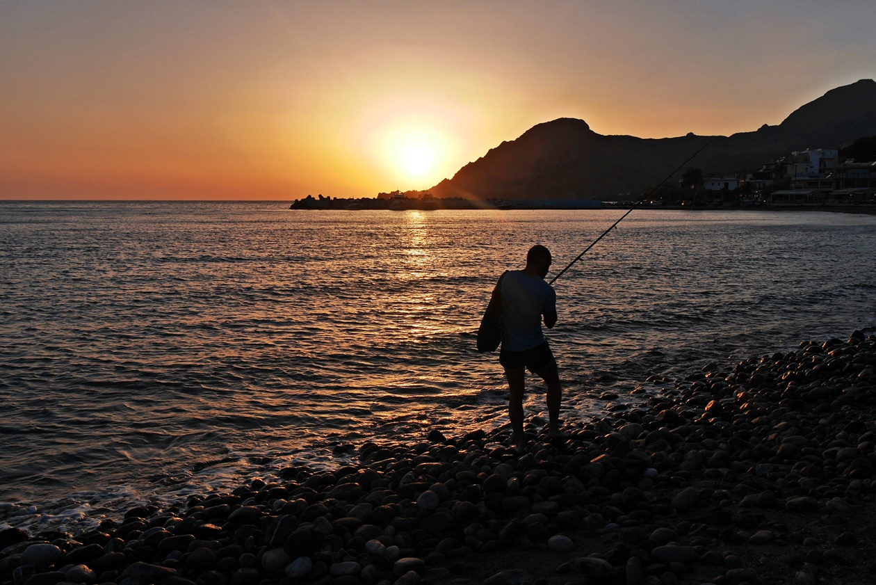 Angler in Plakias auf Kreta