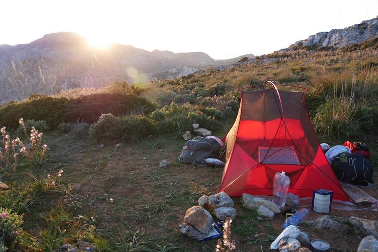 Unser Zelt auf der 2.Etappe des GR221