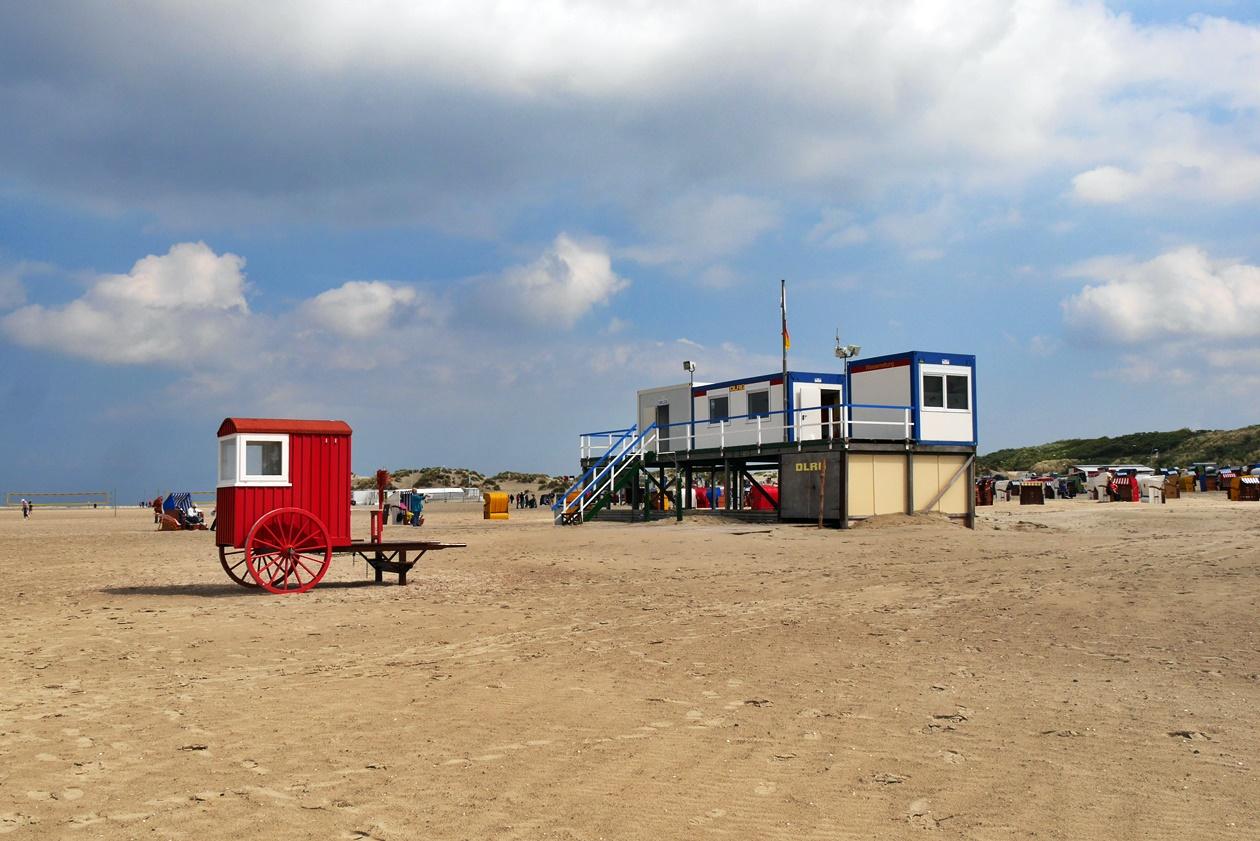 Strand von Borkum während dem Urlaub mit Oma