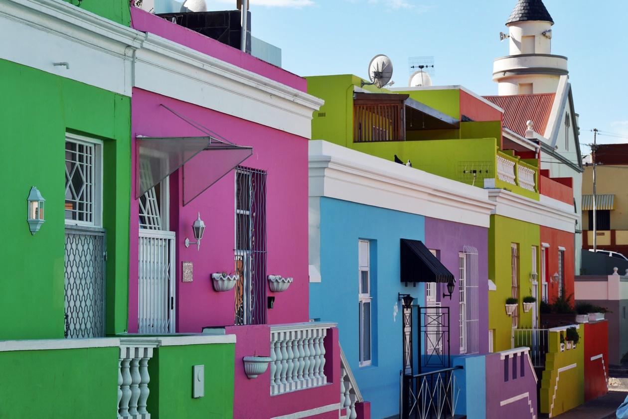 Bunte Häuser in Bo-Kaap in Südafrika