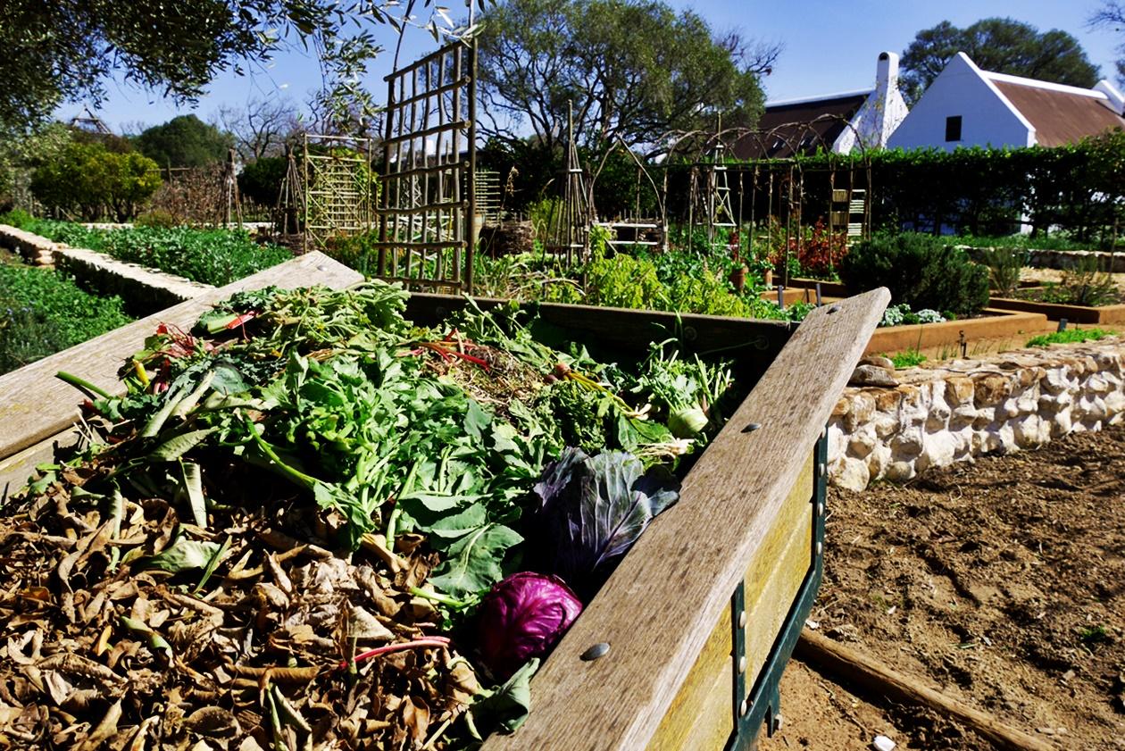Komposthaufen in Babylonstoren auf unserem Wochenendausflug von Kapstadt