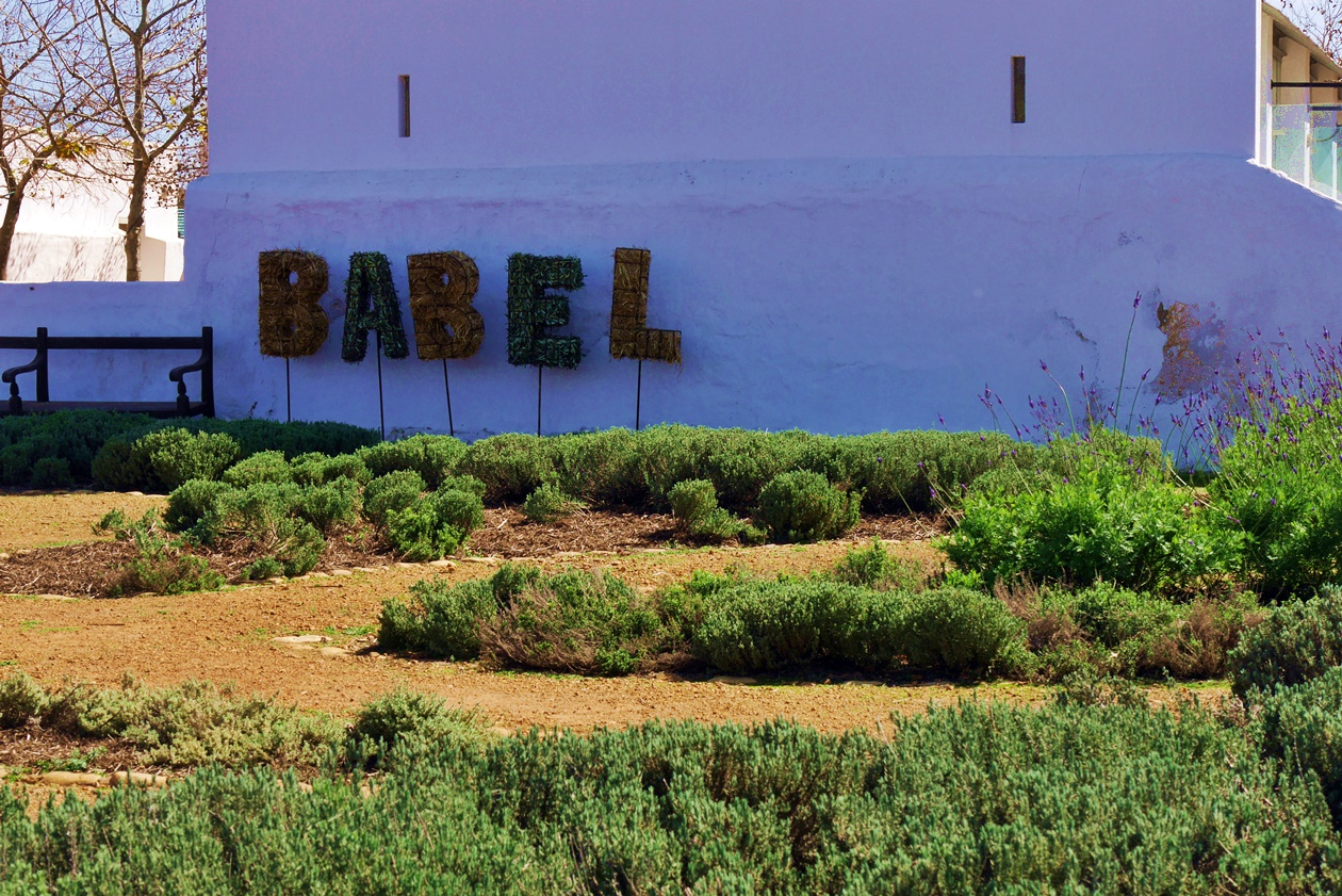 Babel Schild in Babylonstoren auf unserem Wochenendausflug von Kapstadt