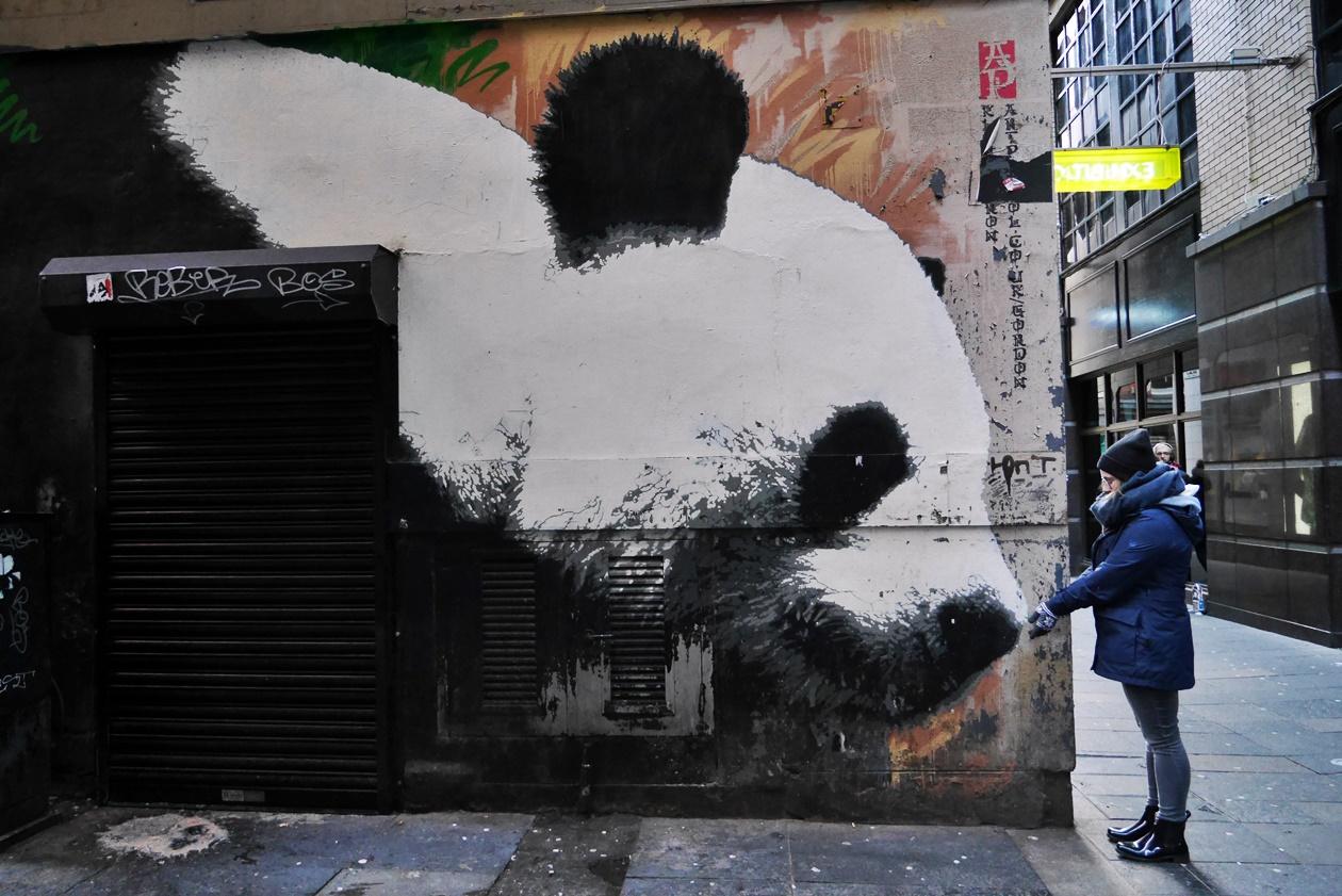 Ich mit dem Glasgow Panda entdeckt auf einer Streetart Tour durch Glasgow