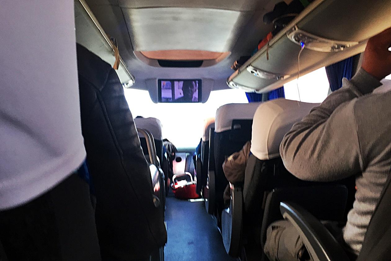 Innenleben des Intercape Sleepliner auf der Fahrt mit dem Intercape Bus von Kapstadt nach Windhoek