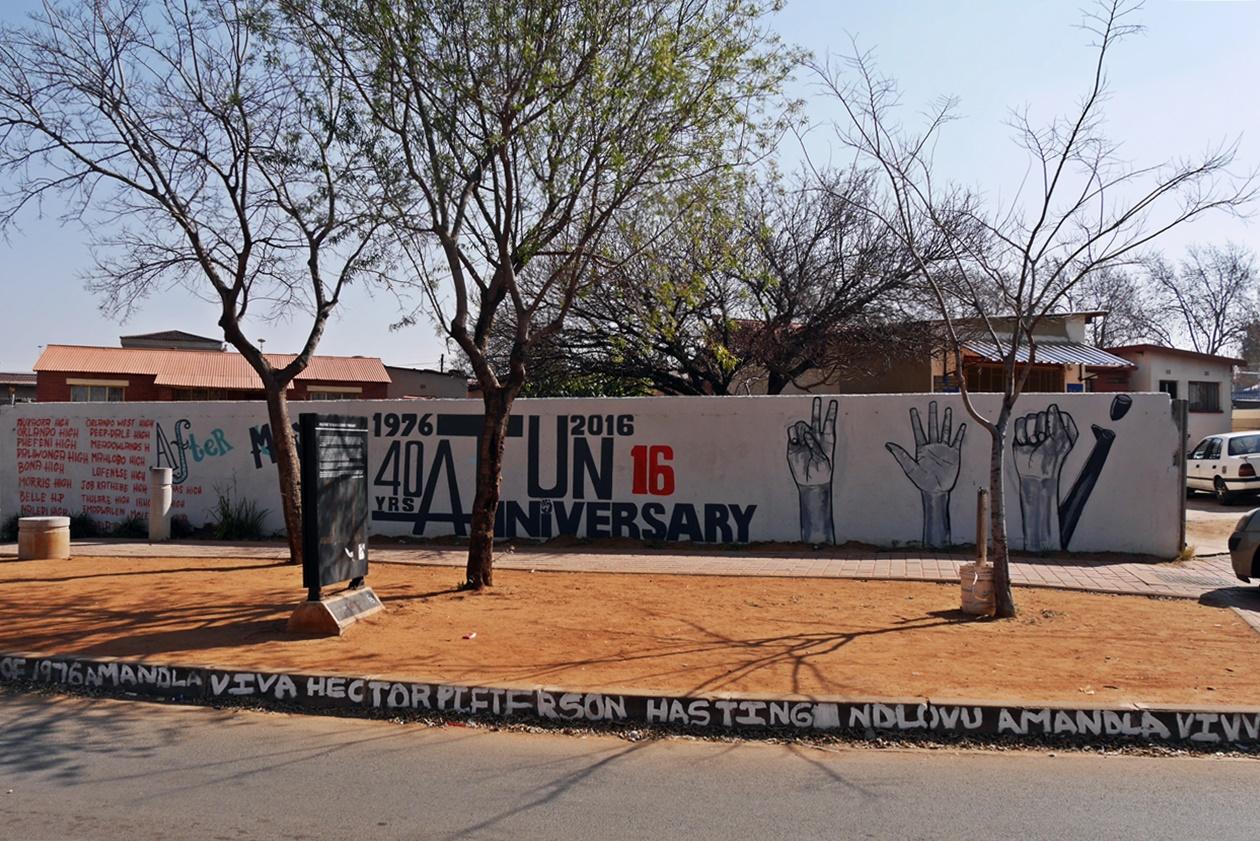 Wand zum Gedenken an die zahlreichen Proteste in Soweto, aufgenommen auf einer Fahrradtour mit Lebo´s Backpackers