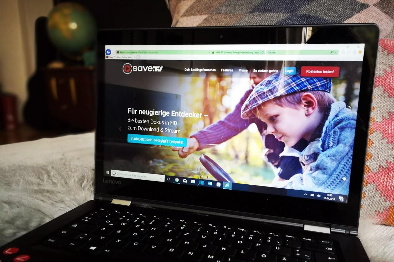 Startbildschirm des Anbieters Save.Tv