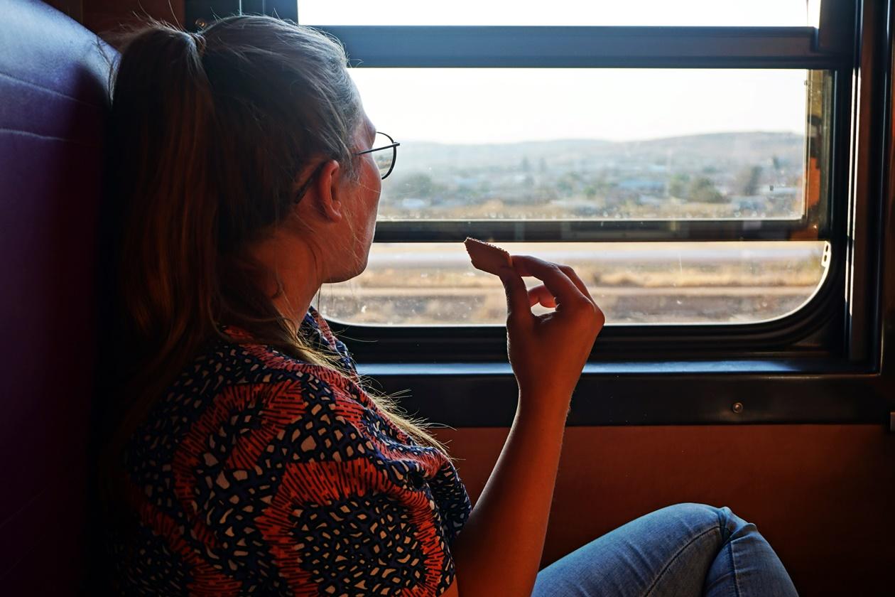Blick aus dem Zugfenster in Südafrika bei Langeweile auf langen Reisen
