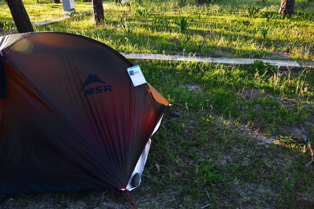 Unser Zelt auf dem Campingplatz von Vila Nova de Milfontes beim Wandern auf der Rota Vicentina