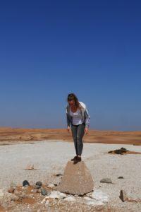 Lieschenradieschen auf einem Stein in der Namib Wüste
