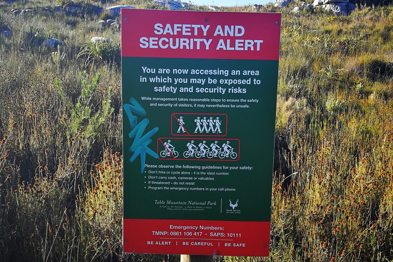 Sicherheitshinweis im Silvermine Nature Reserve