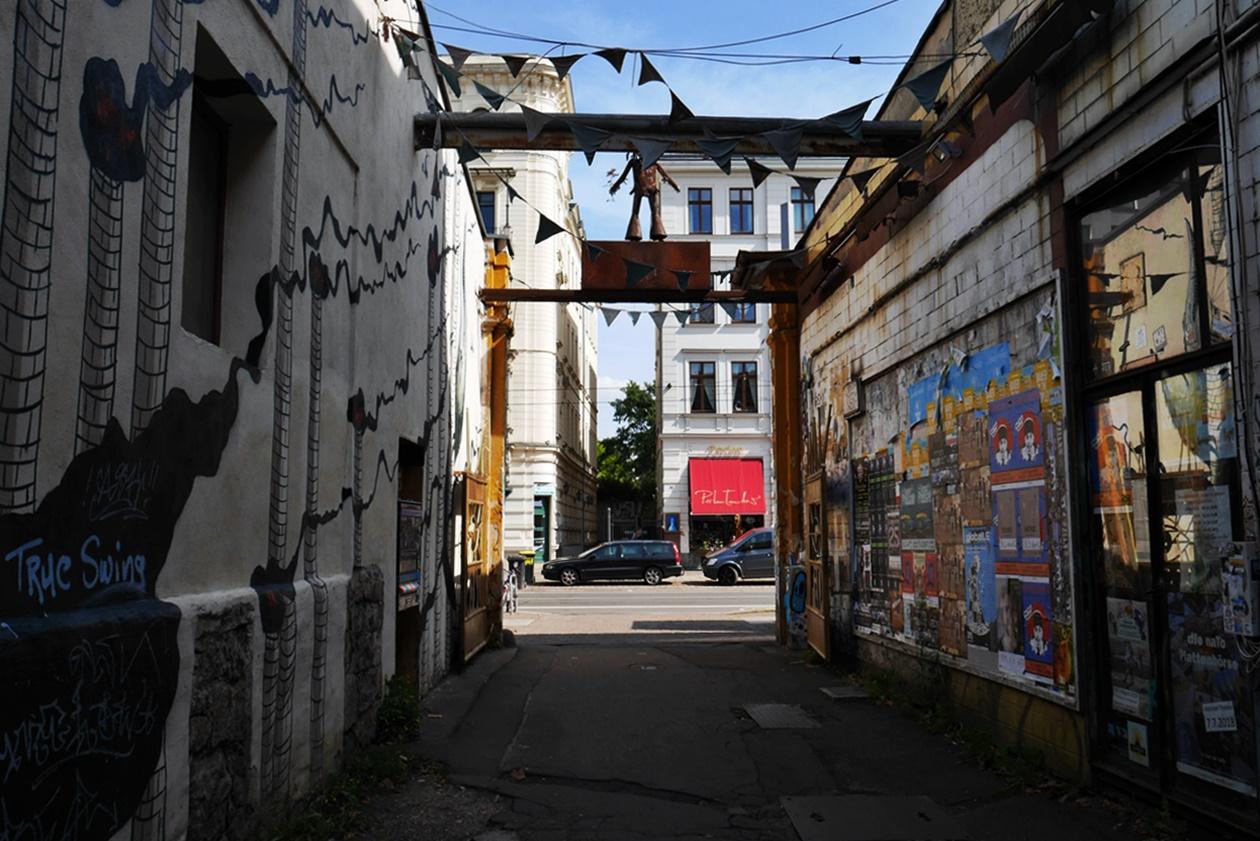 Eingang zum Feinkostgelände in Leipzig