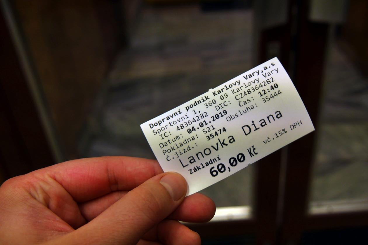 Fahrkarte für die Seilbahn in Karlsbad