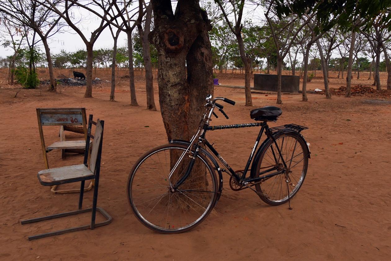 Fahrrad das an einem Baum angelehnt ist im Chingalire Rural Homestay