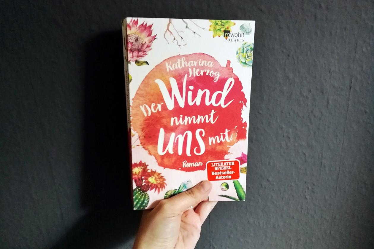"""Hand hält das Buch """"Der Wind nimmt uns mit"""" von Katharian Herzog"""