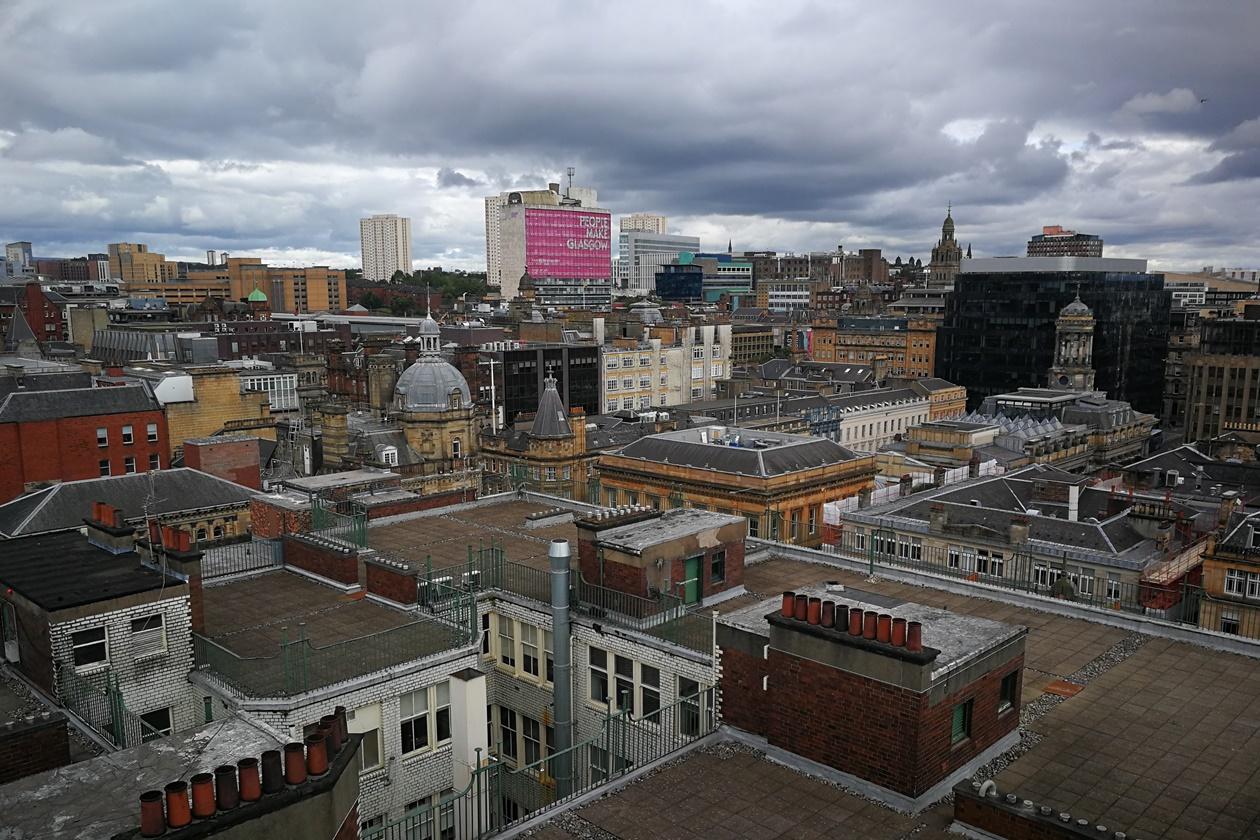 Blick auf die Dächer von Glasgow vom Glasgow Lighthouse