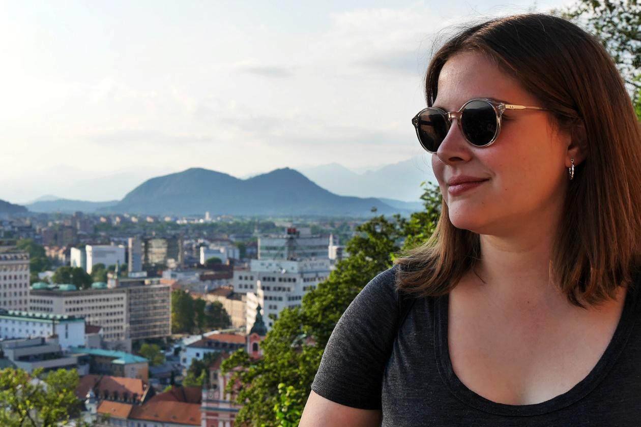 Panorama Blick auf Ljubljana mit den Alpen im Hintergrund