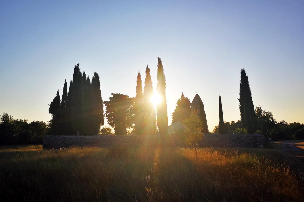 Sonnenuntergang im slowenischen Teil von Istrien