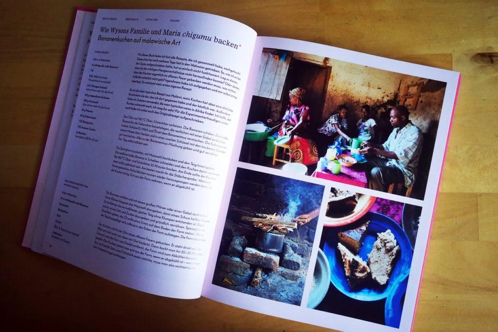 Aufgeschlagene Buchseite des Kochbuchs Eating With Africa von Maria Schiffer