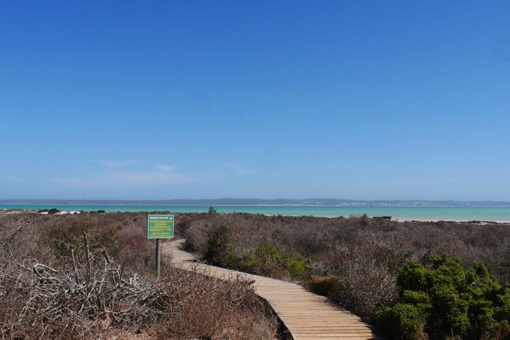 Holzweg zu einem Birdhide im West Coast Nationalpark in Südafrika